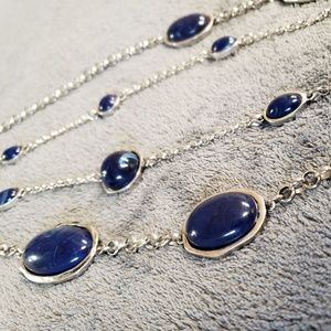 Chicos Long Blue and Silver Necklace